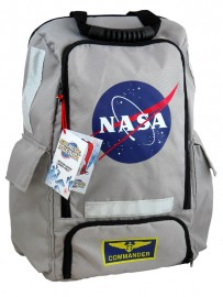Silver NASA space mission backpack